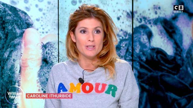 The grey sweatshirt LOVE of Caroline Ithurbide in William at noon the 14.02.2020