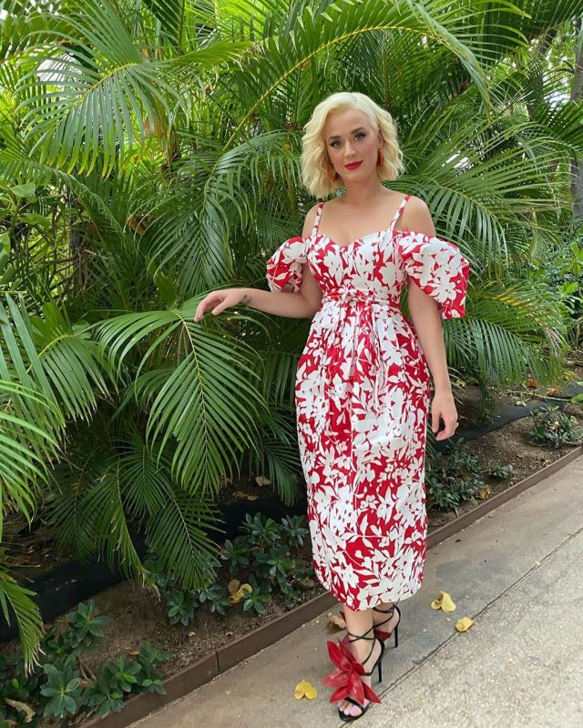 Rosie Assoulin Pleated Cold Shoulder Floral Print Silk Taffeta Midi Dress of Katy Perry on the Instagram account @katyperry March 30, 2020