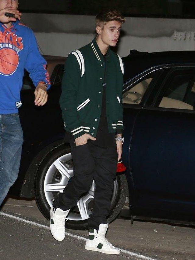 Saint Laurent Vert varsity veste portée par Justin Bieber à Selena Gomez 21e Anniversaire au Malibu