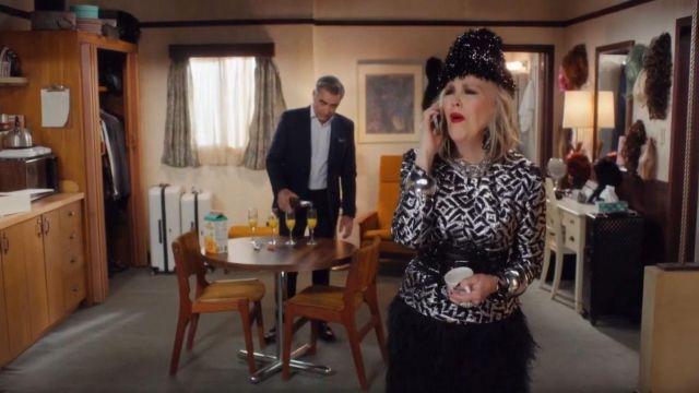 Cynthia Rowley Mini Skirt Black worn by Moira Rose (Catherine O'Hara) in Schitt's Creek Season 6 Episode 13