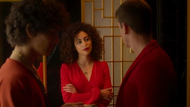 Red dress worn by Nadia (Mina el Hammani) to the Red Party | Elite (S02E03)