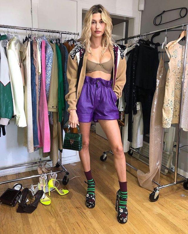 Miu Miu Lambskin Leather High Waisted Shorts worn by Hailey Baldwin Maeve Reilly's Instagram April 7, 2020