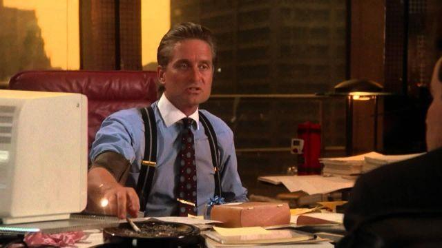 The shirt has double cuffs and white collar worn by Gordon Gekko (Michael Douglas) in Wall Street