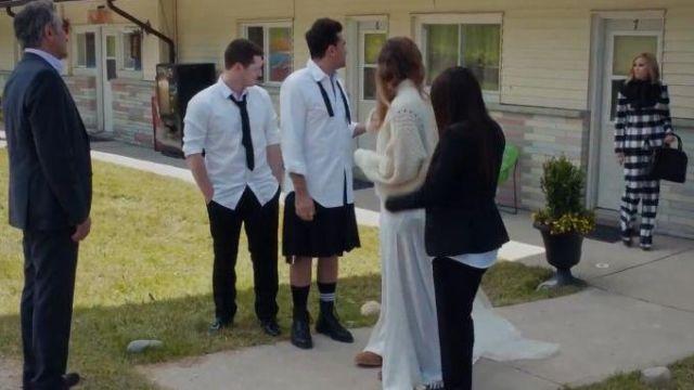 White & Black Check Trousers worn by Moira Rose (Catherine O'Hara) in Schitt's Creek Season 6 Episode 14