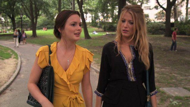 Le top jaune cache-coeur Diane von Furstenberg de Blair Waldorf (Leighton Meester) dans la série Gossip Girl (Saison 3 Episode 3)