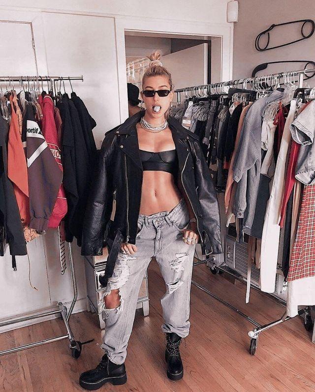 Danielle Guizio Leather Top worn by Hailey Baldwin Maeve Reilly's Instagram April 10, 2020