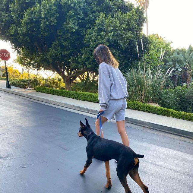 Le sweatshirt gris clair porté par Kendall Jenner sur son compte Instagram @kendalljenner