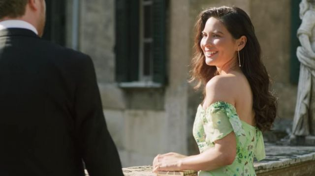 Off Shoulder Green Dress Worn By Dina Olivia Munn In Love Wedding Repeat Spotern