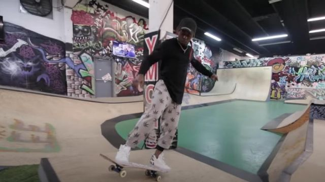 Vans Heel Logo Print White 'SK8-Hi Tumble' Sneakers worn by Lil Wayne in his Piano Trap & Not Me (Official Music Video)