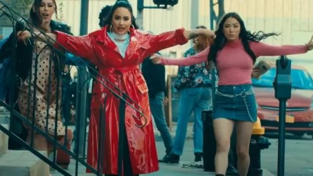 Red Trench Coat worn by Demi Lovato in her I Love Me Music video