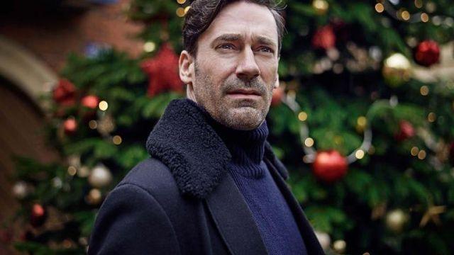 Navy Coat Jacket with fur collar worn by Matt (Jon Hamm) in White Christmas (Black Mirror)