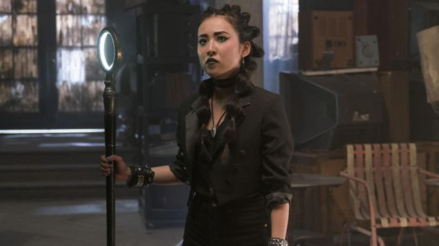 Thin collared tailcoat  worn by Nico Minoru (Lyrica Okano) as seen in Marvel's Runaways (Season 2 Episode 3)