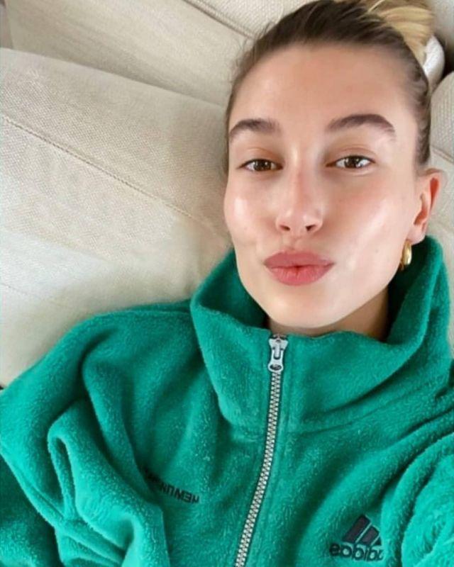 Gosha Rubchinskiy x Adidas Zip Fleece worn by Hailey Baldwin Instagram Story May 6, 2020