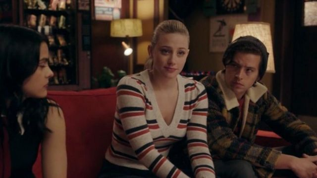 Striped V Neck Sweater worn by Betty Cooper (Lili Reinhart) in Riverdale Season 4 Episode 19
