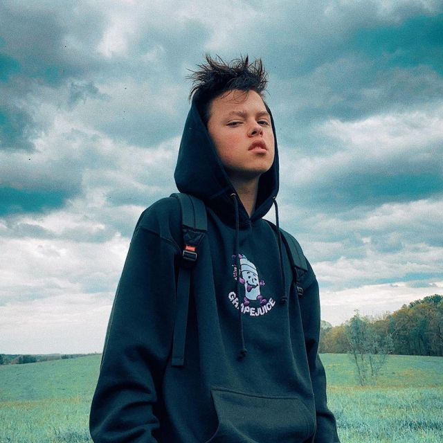 STAYCOOLNYC Grapejuice hoodie worn by Jacob Sartorius on his Instagram account @jacobsartorius