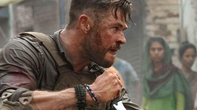 Bead bracelets worn by Tyler Rake (Liam Hemsworth) as seen in Extraction