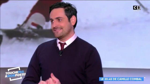 La cravate fine en satin de Camille Combal dans l'émission Touche pas à mon poste