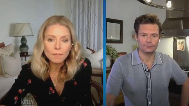 - Esprit de joie en crêpe de cerise impression mididress en noir porté par Kelly Ripa sur le LIVE avec Kelly et Ryan 14 Mai 2020