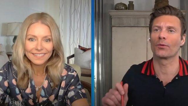 Morgan lane Storm bleu Katelyn Fiona satin imprimé pyjama ensemble porté par Kelly Ripa sur le LIVE avec Kelly et Ryan 21 Mai 2020