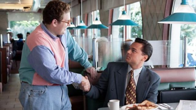 The shirt color pastel of Donnie Azoff (Jonah Hill) in The Wolf of Wall Street