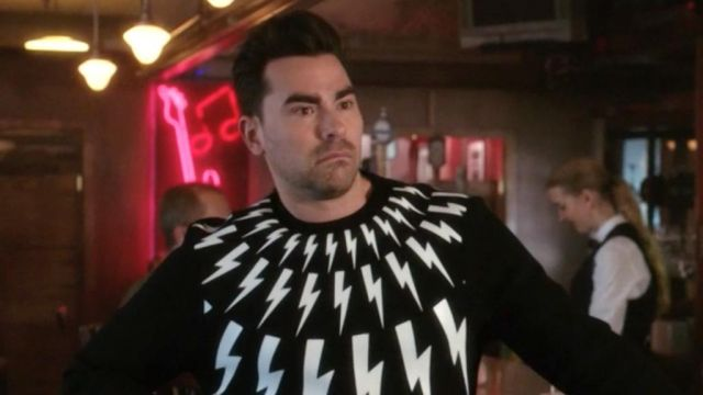 Lightning Bolt sweater worn by David Rose (Daniel Levy) in Schitt's Creek (S05E04)