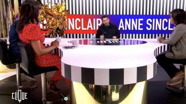 La robe rouge portée par Emilie Papathéodorou dans l'émission Clique
