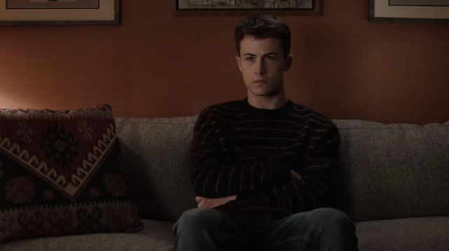 The striped sweater worn by Clay Jensen (Dylan Minnette) in 13 Reasons Why (Season 4 Episode 5)