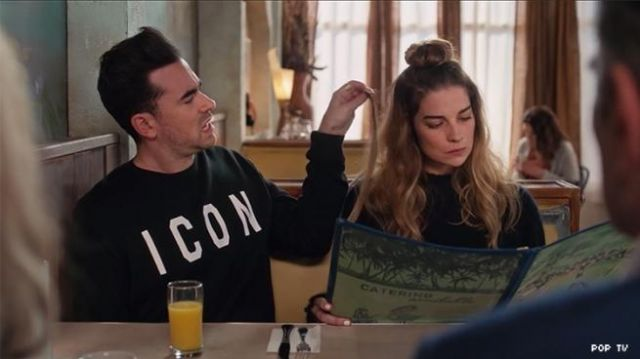 Icon jumper worn by David Rose (Daniel Levy) in Schitt's Creek (S06E10)