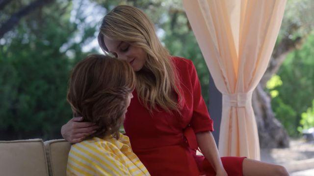 Red silk wrap dress worn by Carla (Ester Expósito) as seen in Elite (S03E06)