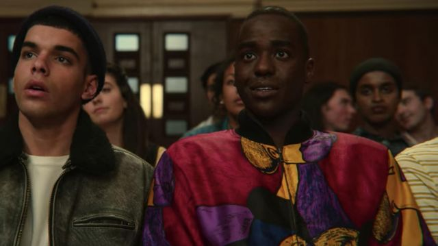 Vintage Picasso Bomber Jacket worn by Eric Effiong (Ncuti Gatwa) in Sex Education (S02E02)
