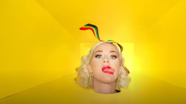 Rainbow Ribbon Headband worn by Katy Perry in Daisies (Can't Cancel Pride) music video