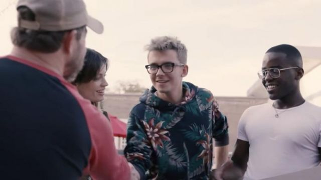 Floral Hoodie worn by Asa Butterfield in Sex Education Cast Try Cafe Du Monde & Other U.S. Firsts | Road Trip YouTube Video by Netflix