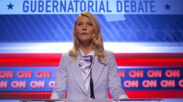 Lilac Satin Blouse worn by Georgina Hobart (Gwyneth Paltrow) in The Politician (S02E01)