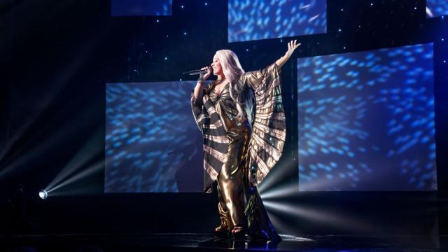 Dress worn by Katiana (Demi Lovato) in Eurovision Song Contest: The Story of Fire Saga