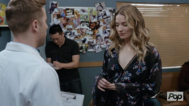 Block floral dress / romper worn by Alexis Rose (Annie Murphy) in Schitt's Creek (S04E01)