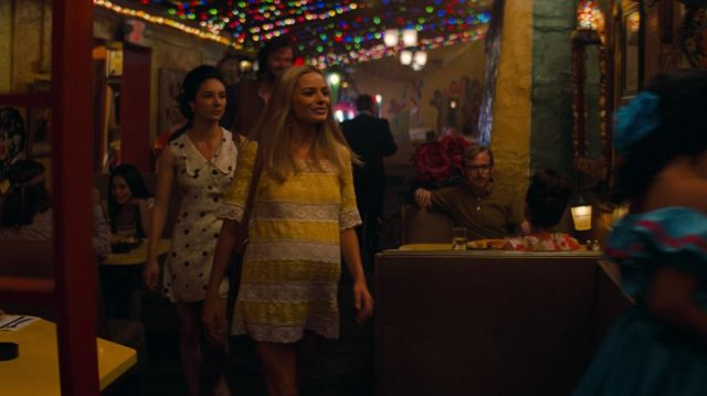Elie Tahari Yellow Mini Dress worn by Sharon Tate (Margot Robbie) as seen in Once Upon a Time… in Hollywood
