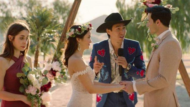 Tara Lauren wedding dress worn by Tala (Camila Mendes) in Palm Springs