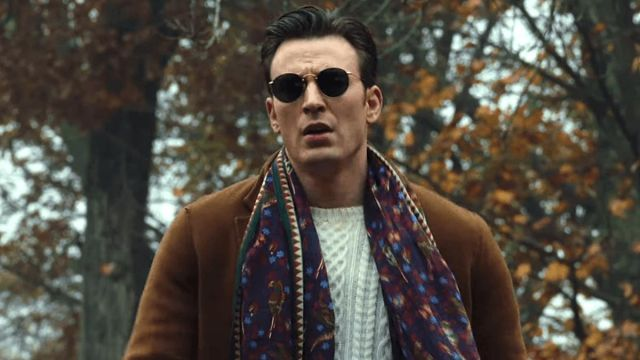 Drake's Plum Birds & Flowers Scarf worn by Ransom Drysdale (Chris Evans) in Knives Out