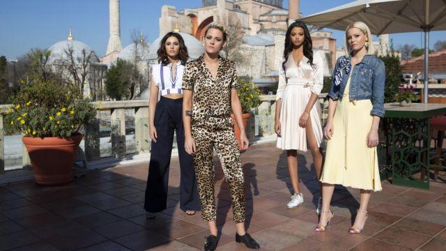 Leopard print blouse worn by Sabina Wilson (Kristen Stewart) in Charlie's Angels