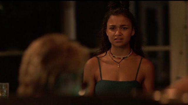 Teal bikini top worn by Kiara (Madison Bailey) in Outer Banks (S01E07)