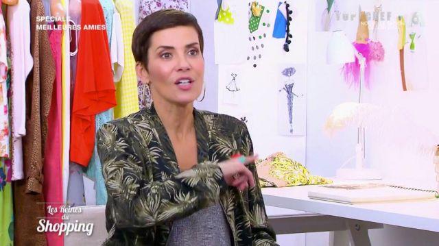La veste imprimée à feuilles de Cristina Córdula dans Les reines du shopping du 19 février 2020