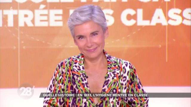 The Hawaiian shirt in leopard-print silk twill with colored stripes of Elisabeth Quin in 28 minutes the 27.08.2020