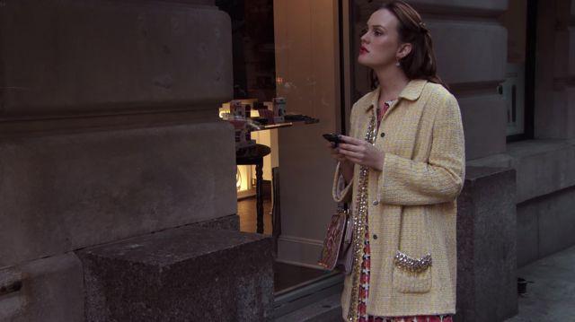 La veste longue en tweed jaune portée par Blair Waldorf (Leighton Meester) dans Gossip Girl Saison 6 Episode 6