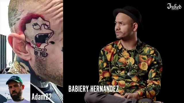 The citrus print shirt worn by Babiery Hernandez in Tattoo Artists React To YouTuber's Tattoos # 2   Tattoo Artists Answer