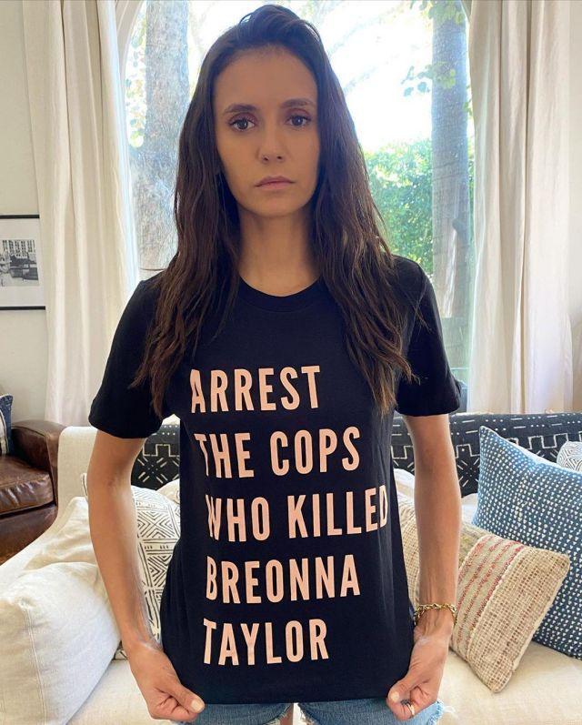 The T-shirt of Nina Dobrev on his account Instagram @nina