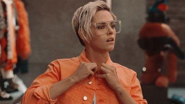 Neon Orange Denim Jacket of Sabina Wilson (Kristen Stewart) in Charlie's Angels
