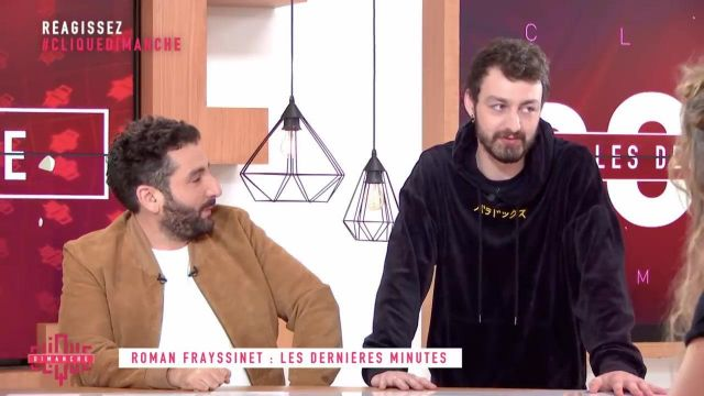 Le sweatshirt porté par Roman Frayssinet dans Clique Dimanche