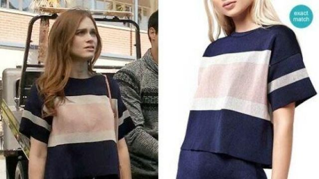 Topshop navy blue boxy tee worn by Lydia Martin (Holland Roden) in Teen Wolf (S06E05)