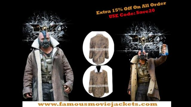 Now you can get this amazing collection of The Dark Knight Rises Bane Coat jacket only at famousmoviejackets. online store in lower prices without any hassle. of Bane (Tom Hardy) in The Dark Knight Rises