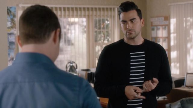 Rick Owens Drkshdw Striped Sweatshirt of David Rose (Daniel Levy) in Schitt's Creek (S03E08)